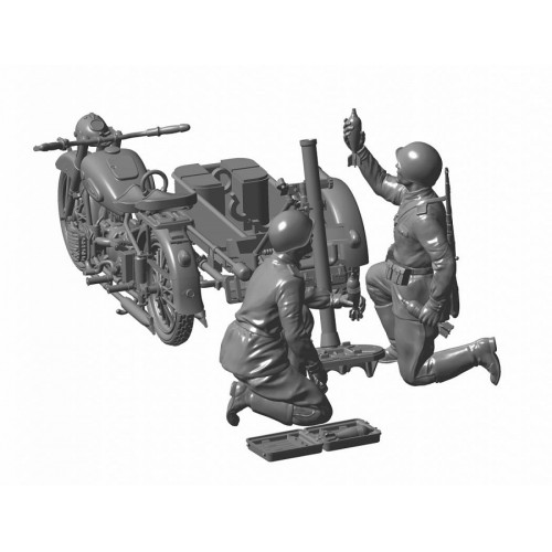 Сов. мотоцикл М-72 с 82-мм минометом