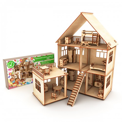 Кукольный домик с мебелью (Коробка, упаковка)