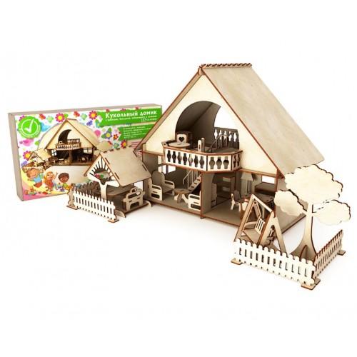 Кукольный домик с мебелью, беседкой, заборчиком и качелью